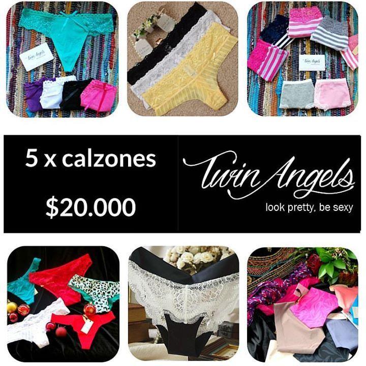 Imperdible en Twin Angels!!!! ¿Qué estilo usarás para recibir el Año Nuevo? Llévate 5 calzones del estilo que más te guste tan sólo por $20.000 * Promoción válida hasta el jueves 31 de diciembre! * Contacto por inbox y whatsapp al celular: +569 97302962