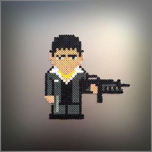 Al Pacino Scarface hama beads by stormglitter_jewelry