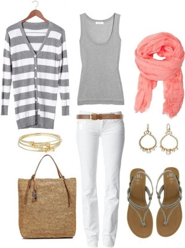 spring fashion: white jeans, gray tank, gray striped cardi & a pop of pink