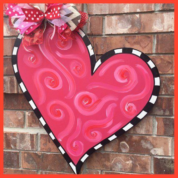 Valentines Door Hanger Valentines Wreath Valentines Decor Heart Door Hanger Heart Wreath Heart Decor Winter Door Hanger Whimsical Valentine Door Decorations Valentines Door Hanger Valentines Sign