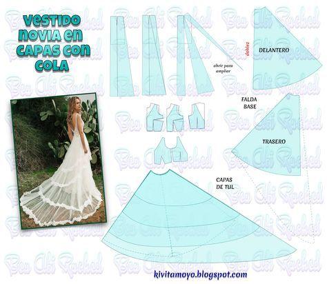 vestido cde novia en capas con cola | patrones de costura