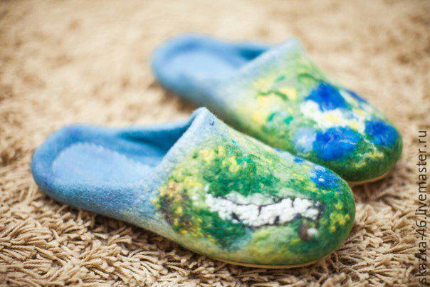 Купить Валяные женские тапочки Русские просторы, голубой цвет - комбинированный, валяная обувь