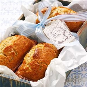 Eggnog Mini Loaves Recipe -The seasonal flavors of eggnog, rum extract and nutmeg shine through in these moist, golden loaves. Tender slices go great with a cup of coffee. —Beverly Elmore, Spokane, Michigan