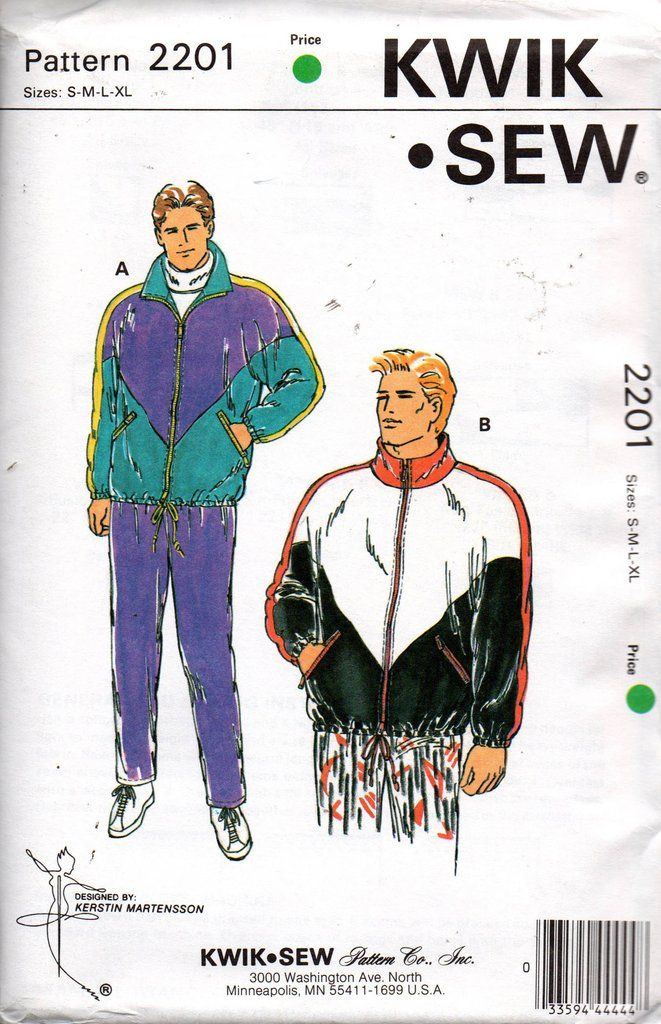 60f28da6f00f4 Kwik Sew 2201 Mens Windbreaker Sweaters   Pants 90s Vintage Sewing Pattern  Size S M L XL UNCUT