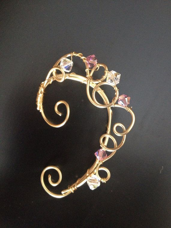 Pink+and+gold+wire+ear+cuff+with+crystals+and+by+WirePrincess,+$20.00