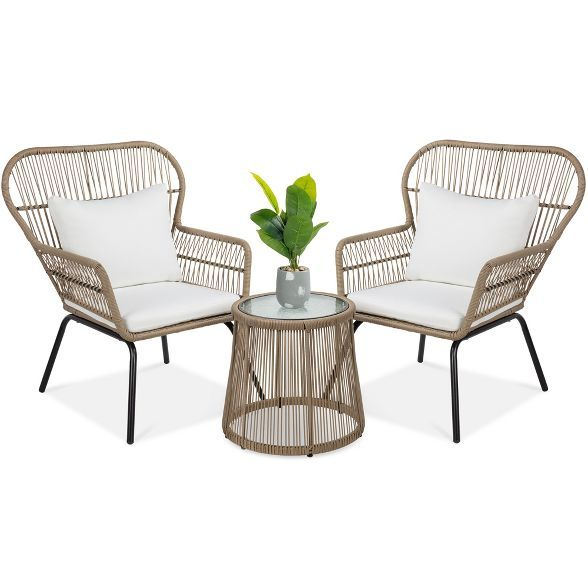 Best Choice Products Wicker Bistro Patio Seating Set Target In 2021 Patio Seating Sets Glass Top Side Table Bistro Set