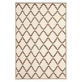 """Anchor your living room seating group or define space in the den with this artfully hand-knotted wool and art silk rug, featuring a Southwestern-inspired trellis motif for eye-catching appeal.  Product: RugConstruction Material: Wool and art silkColor: Ivory and brownFeatures: Hand-knottedPile Height: 0.5"""" Note: Please be aware that actual colors may vary from those shown on your screen. Accent rugs may also not show the entire pattern that the corresponding area rugs have.Cleaning and ..."""