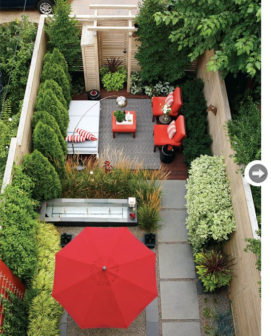 lovely accent colour of red in there to complement the green in this courtyard garden design