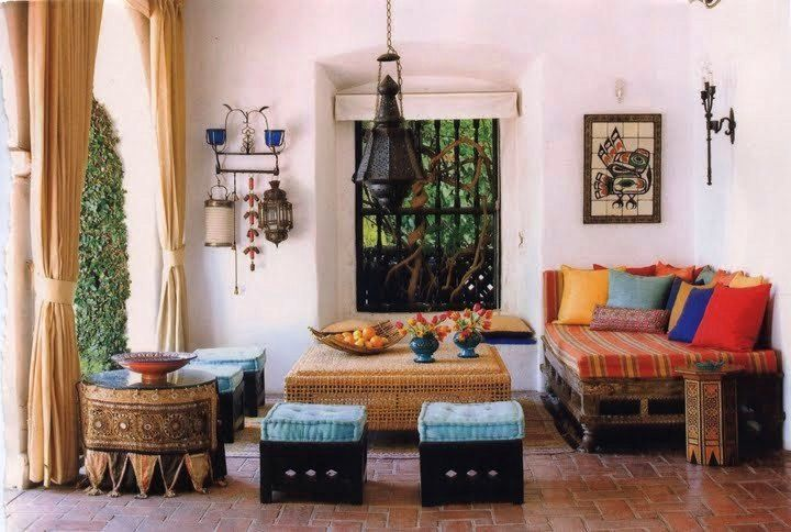 cozy cusions, ethnic-styled furniture, covered porch
