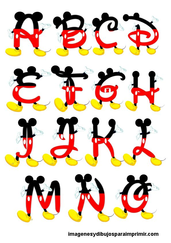 Alphabet of Mickey Mouse-pictures and drawings to print