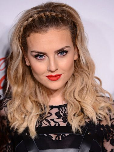 Perrie Edwards's Braided Headband. Tilt your head to one side, and begin French braiding at that ear. Continue the braid up over the top of your head, only adding hair from the section in front of the braid. Once you reach the other side, pin the end of the plait behind your ear and pull your hair towards your face to cover it.