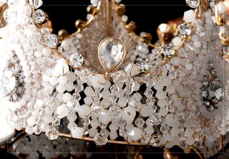 Европейский высокого класса люкс ручной работы ретро большой тяжелый венец белый строковых хрустальные бусины горный хрусталь для новобрачных свадьба головной убор - Taobao