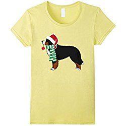 Women's Bernese Mountain Dog Christmas Dog T-Shirt Xmas T-shirt Medium Lemon