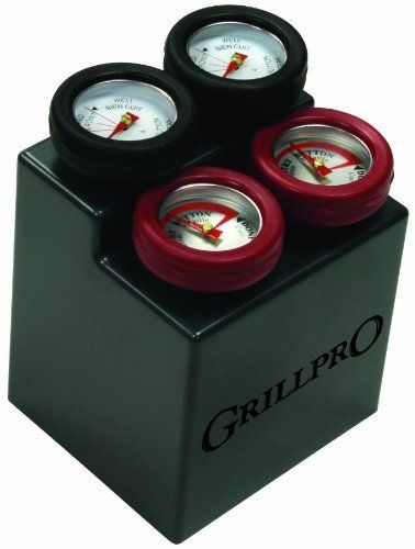 GrillPro 11381 4-Piece Min Meat Thermometers with Bezel by GrillPro. $15.29. Silicone bezels for easy removal. 2 Thermometers calibrated for steak. Easy to clean. 2 Thermometers calibrated for chicken. The 4 Pack of mini meat thermometers with silicone bezels for easy removal from cooked foods and individual cuts of meat will be a great addition to your grilling arsenal. The two burgundy colored thermometers are calibrated for steak and the two black colored thermometer...