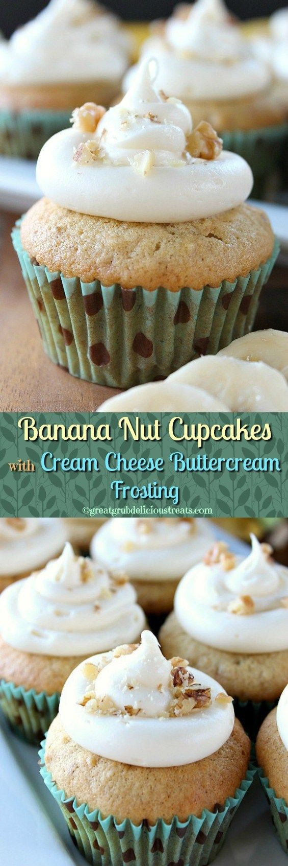 Banana Nut Cupcakes with Cream Cheese Buttercream Frosting (Cherry Cupcake Recipes)
