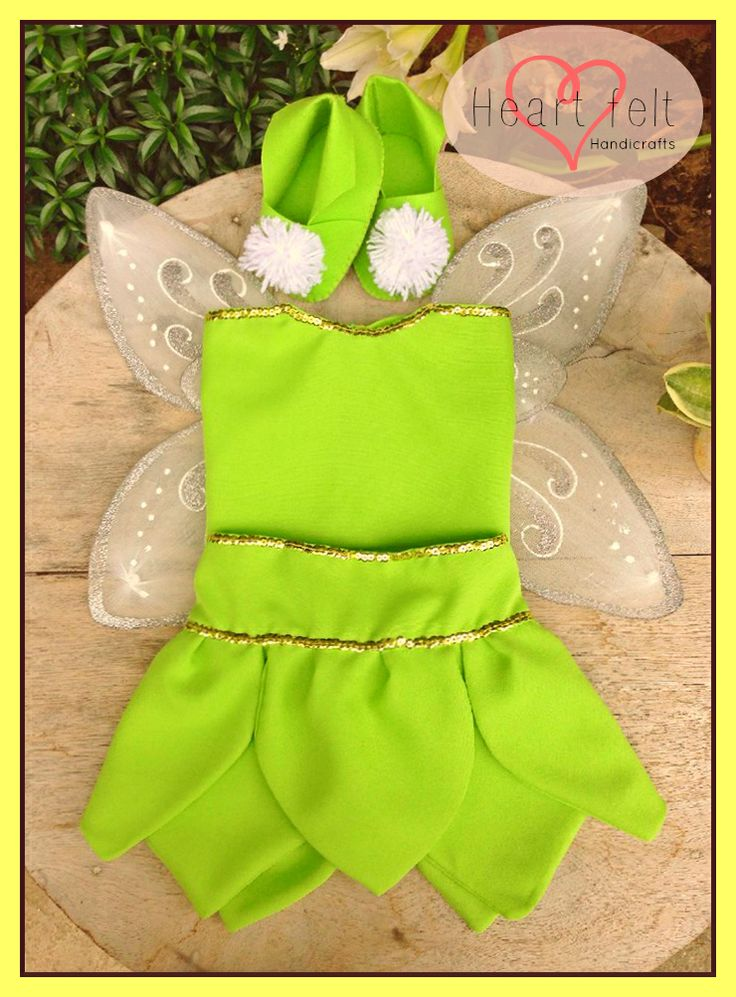 Hand stitched tinker bell costume and felt tink booties.