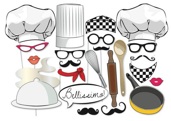 Here is the ultimate collection of cooking/Chef photo booth props! Tons of Fun!! Great for a cooking party or a little chef! Contains 24 pieces: ♥ Chef Hat ♥ Sous Chef Hat ♥ Cooks Hat ♥ Speech bubble Bellissimo! ♥ Chef scarf ♥ Cooks Scarf ♥ Frying pan ♥ extra large whisk and wooden spoon ♥ Hot Dinner ♥ 4 x Set Glasses ♥ 3 x Red Lips ♥ 5 x moustache ♥ Rolling pin This listing includes one (13) page PDF file with 24 photo props. This listing is for the PRINTABLE FILE The ...