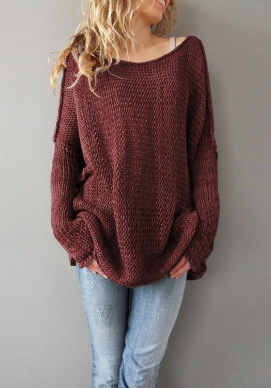 Wine Red Plain Round Neck Long Sleeve Pullover Sweater