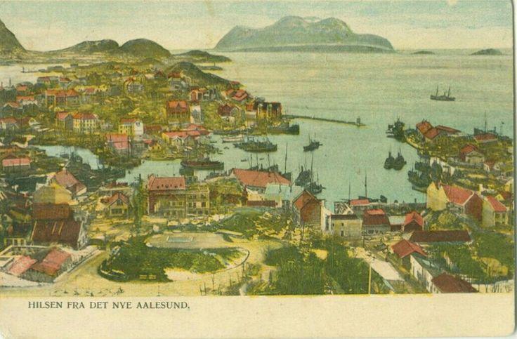 """Møre og Romsdal fylke Aalesund. Uvanlig """"Hilsen fra det nye Aalesund"""", kolorert."""
