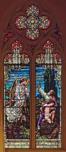 Saint George Roman Catholic Church, in New Baden, Illinois, USA - stained glass window of Abraham's sacrifice