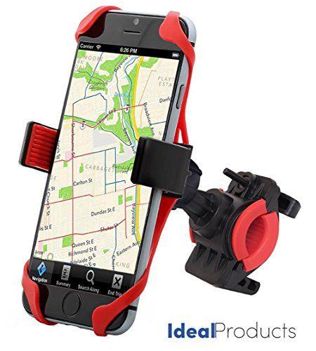 awesome Ideal Products Soporte Bicicleta para Teléfonos Móviles y GPS, de Uso Universal para todos los Smartphone y móviles Apple iPhone 6 plus/6s/6s,etc... Samsung, Sony Xperia, Motorola, Blackberry, LG Phones, Huawei, HTC, etc - Provisto de agarre extensible de silicona antideslizante y también de una cinta de sujeción de caucho para los 4 lados del teléfono, que aseguran una inmovilización perfecta. De fácil Instalación (no precisa de herramientas).