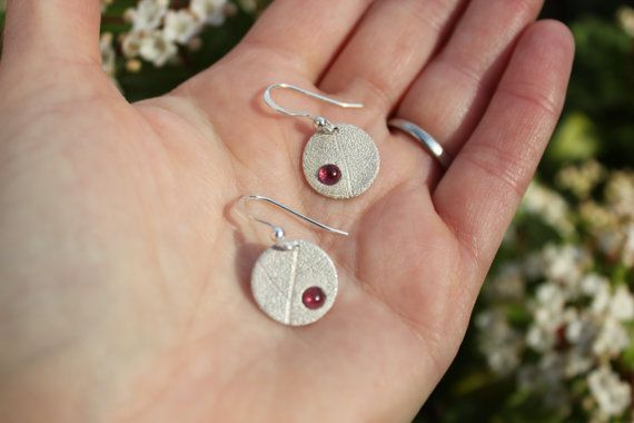 Real Leaf and Garnet Earrings. All proceeds go towards a hedgehog hospital in the UK.