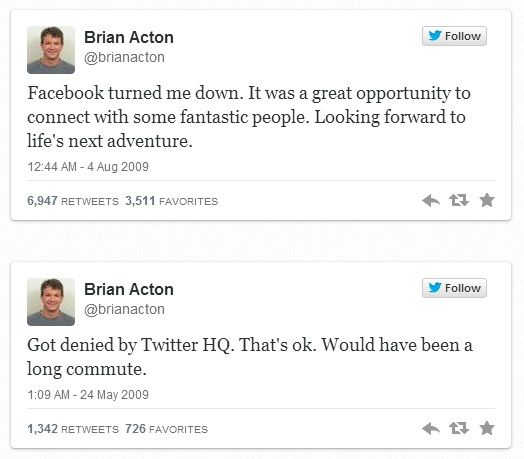An Inspirational Story of Perseverance in spite of Rejections: Brian Acton was rejected by Facebook & Twitter to found WhatsApp.