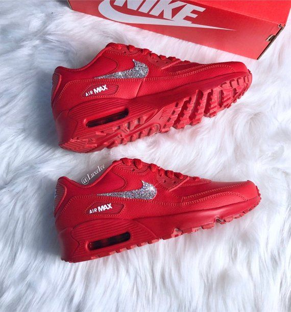 Swarovski Nike Air Max 90 Casual Shoes Red customized with
