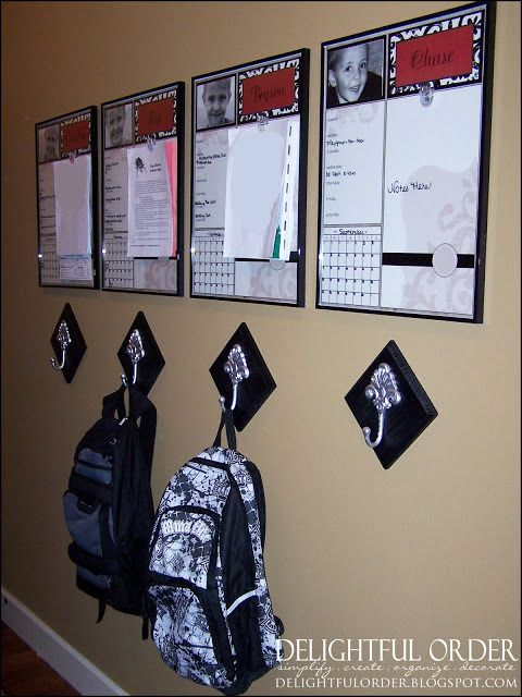 <p>A white board, backpack hook and bulletin board for each child. Brilliant! It's kiddo command central! </p>