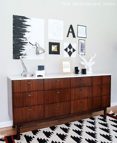 before after mid century modern credenza repainted, home decor, painted furniture