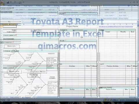toyota a3 report template in excel pdca pinterest. Black Bedroom Furniture Sets. Home Design Ideas