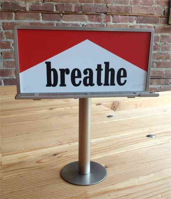 """Breathe""   Ron English's works explores popular brand imagery and advertisement in mash ups of high and low culture touchstones. He uses a tactic called Culture Jamming. Culture Jams are intended to question assumptions behind commercial cultures and often use mass media to create ironic and satirical commentaries about it self."