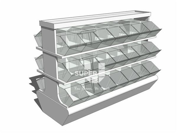 Custom Candy Store Display Case With Storage Trays For Retail