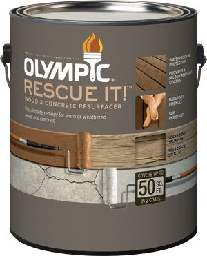 Olympic® RESCUE IT!™ Wood & Concrete Resurfacer. Barefoot friendly, slip-resistant and waterproof