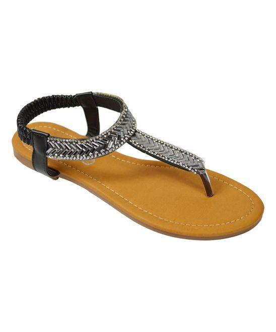 Black Metallic Chevron Sandal