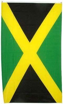 """New 3x5 National Jamaican Flag National Jamaica Flags by NationalCountryFlags. $4.84. Size: 3' x 5' (36"""" x 60""""). New 3x5 National Jamaican Flag National Jamaica Flags. Material: Polyester. Includes 2 Brass grommets for hanging. The flag of Jamaica was adopted on August 6, 1962 which was the original Jamaican Independence Day. The flag consists of the colors green, gold, and black. Black symbolizes the strength and creativity of the Jamaican people. Gold represents sunlight an..."""