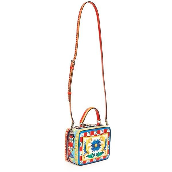 Dolce & Gabbana Dolce Soft Majolica-print leather box bag (8.740 BRL) ❤ liked on Polyvore featuring bags, handbags, shoulder bags, white leather handbags, leather shoulder handbags, clasp handbag, dolce gabbana purses and clasp purse