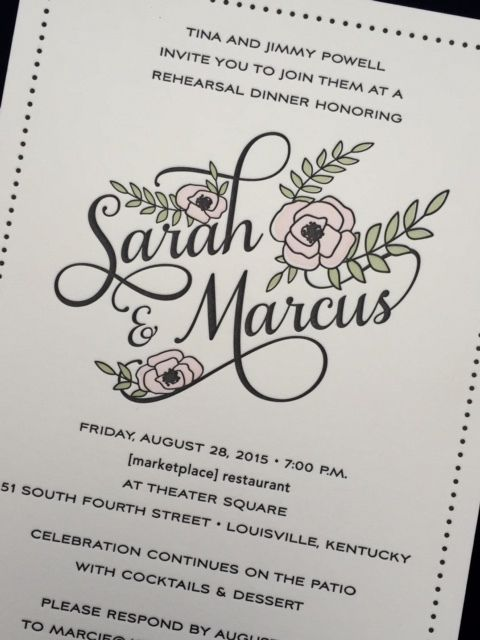 Letterpress, custom and traditional invitations sold at a 20% discount with day of projects such as programs, menus and escort cards.  Calligraphy services also available.