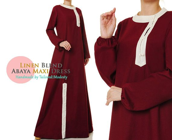 Red Cotton Abaya Button Up Long Sleeve Maxi by Tailored2Modesty