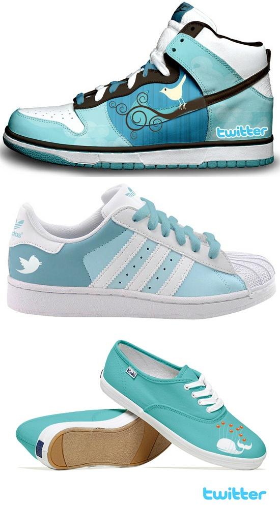 Rondlopen met Twitter op je phone en schoenen