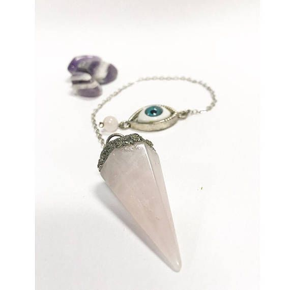 Rose Quartz Evil Eye Pendulum
