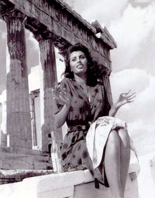 Sophia Loren in front of the Acropolis in 1954