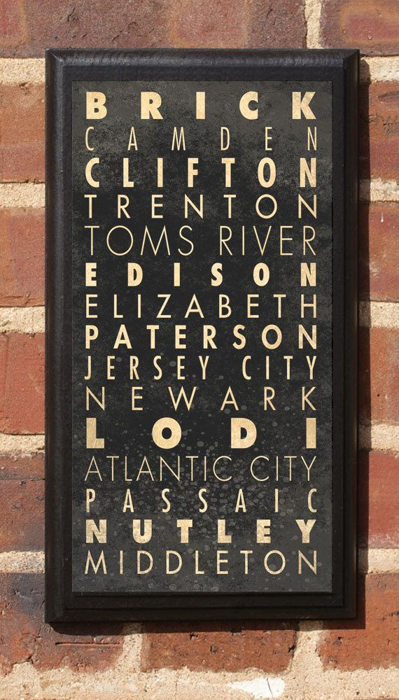 New Jersey Nj Cities Wall Art Sign Plaque Gift Present