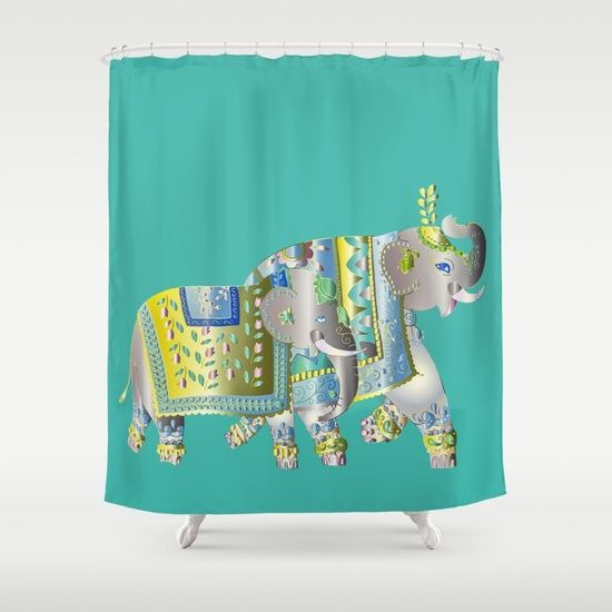 Pair Of Indian Elephants Shower Curtain