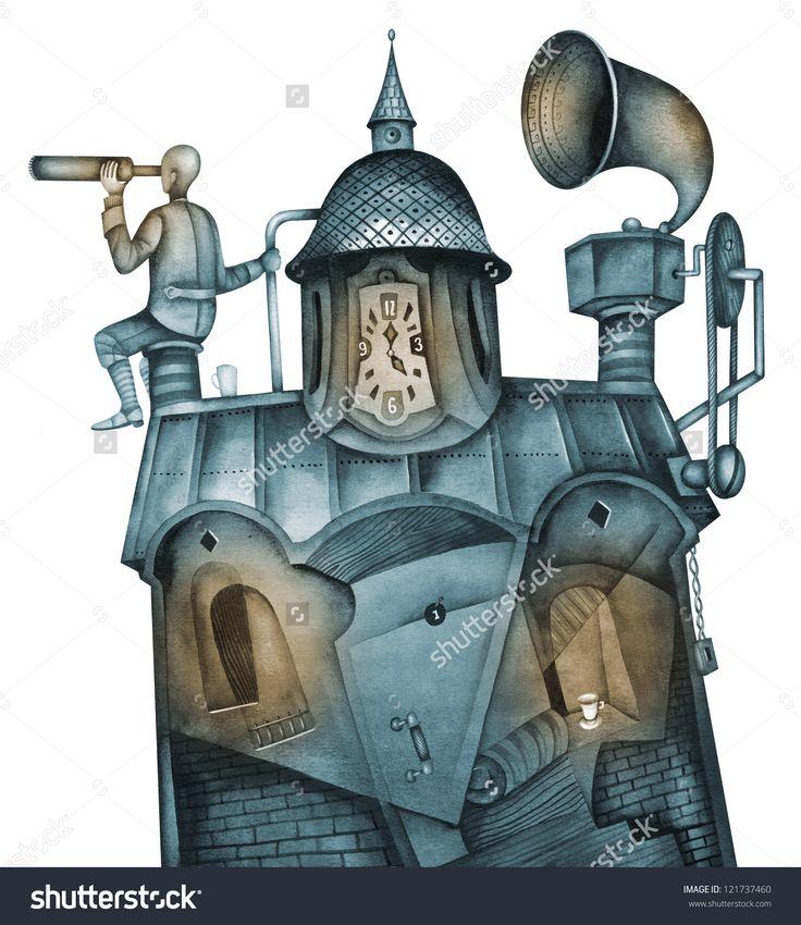 A Man Looks Through A Telescope by Eugene Ivanov. #eugeneivanov #steampunk #science #fiction #fantasy #machinery #victorian #illustration #art #original  #@eugene_1_ivanov