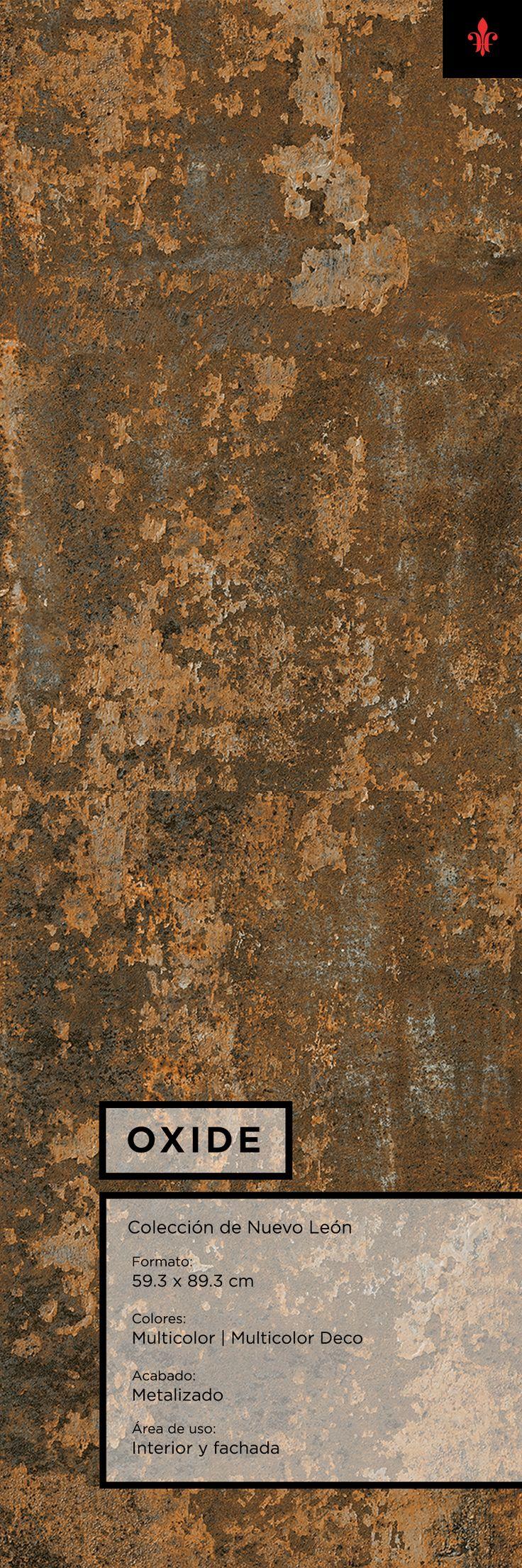 El porcelánico Oxide de Firenze toma un acabado metalizado con textura que viste muros con un original acabado y textura de metal corrugado.