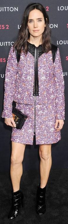 Jennifer Connelly's purple  long sleeve dress fashion id