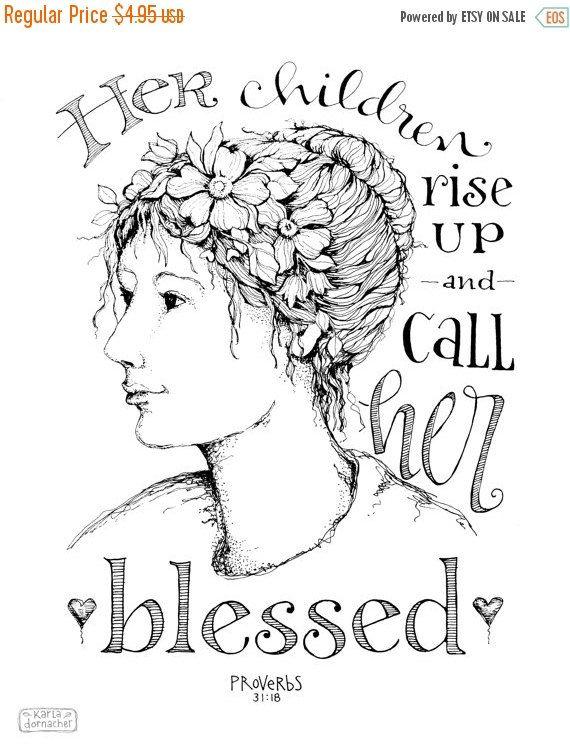 50% OFF SALE haar kinderen opstaan 8 x 10 Art Print moeders dag Spreuken 31 Instant Download COLOR uw eigen schrift digitale afdrukbare Christi