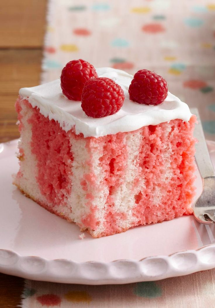 Raspberry Tres Leches Cake -- This colorful dessert recipe is perfect for summer get-togethers. More of a strawberry fan? Use JELL-O Strawberry Flavor and fresh strawberries instead!