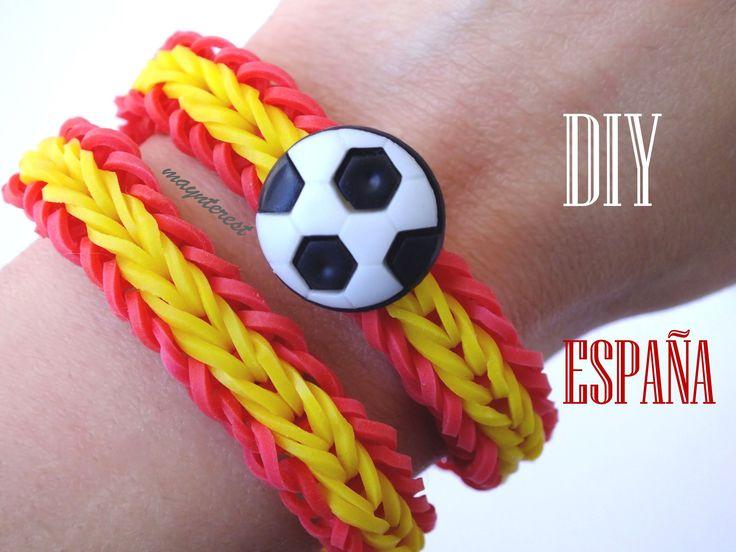 DIY Pulsera de gomitas España Mundial 2014 / Single cross fishtail bracelet